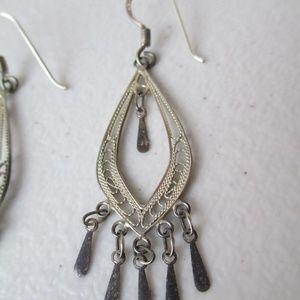 MC Jewelry - MC Earrings Signed Drop Chandelier Sterling Silver